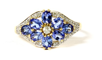 Lot 17-A 14ct gold tanzanite and diamond floral cluster ring