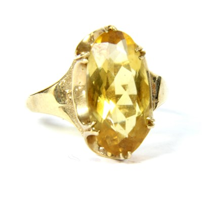 Lot 20-A 9ct gold single stone citrine ring