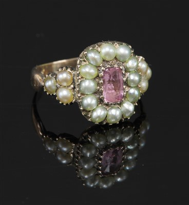 Lot 3-A cased Georgian pink topaz and split pearl cluster ring