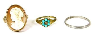 Lot 2-A platinum wedding ring