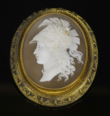 Lot 31-A Victorian gold Etruscan-style shell oval cameo brooch, c.1800