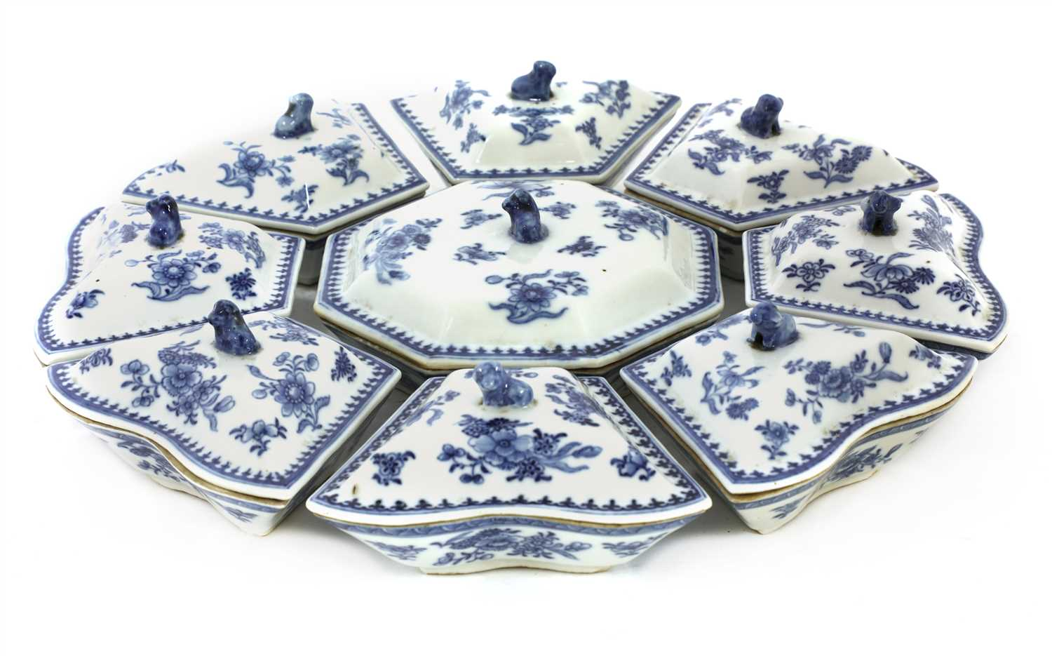 A set of Chinese blue and white sweetmeat dishes and covers,