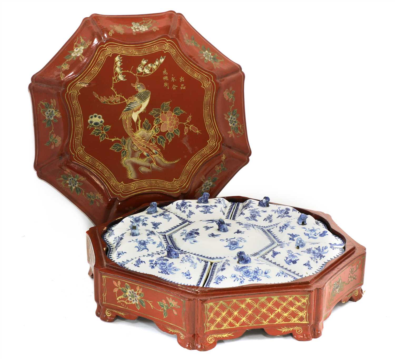 Lot 27-A set of Chinese blue and white sweetmeat dishes