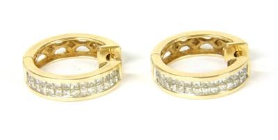 Lot 6-A pair of diamond set hoop earrings