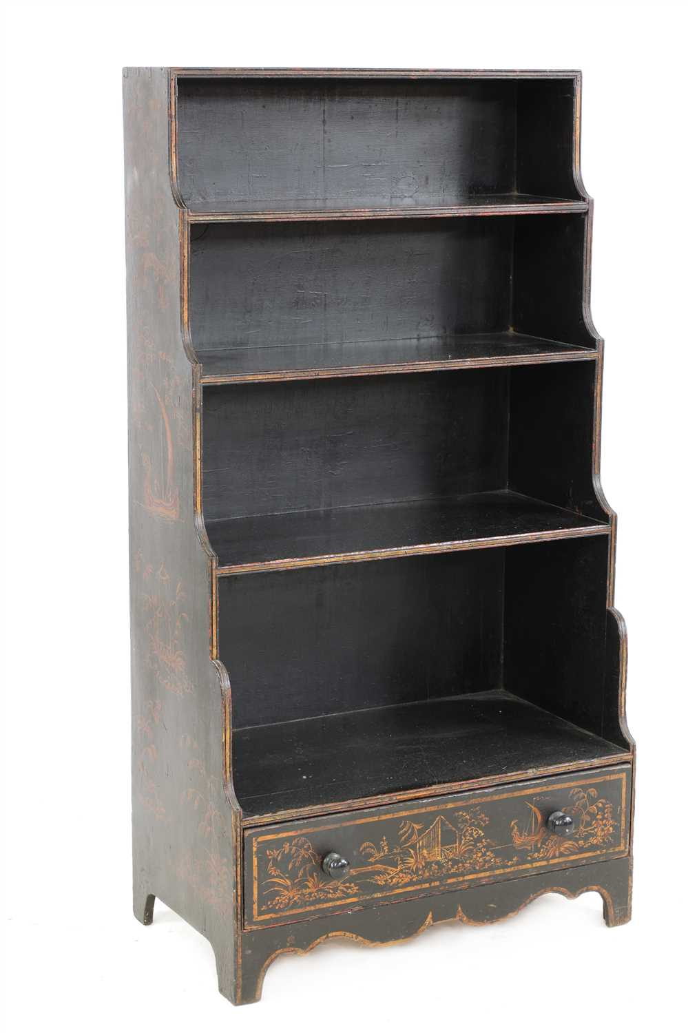 Lot 713-A Regency black lacquered and gilt chinoiserie waterfall bookcase