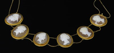 Lot 27-A cased Italian gold carved shell cameo necklace, c.1830