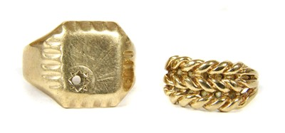 Lot 2-A 9ct gold keeper ring
