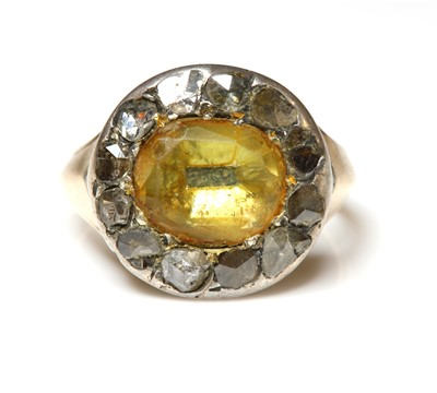 Lot 9-A Georgian foiled citrine and diamond cluster