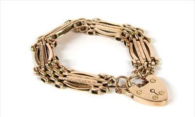Lot 11-A 9ct gold five row gate bracelet