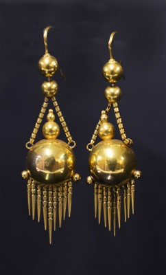 Lot 50-A pair of Victorian gold drop earrings, c.1860