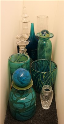 Lot 490 - A collection of Mdina blue and yellow glassware