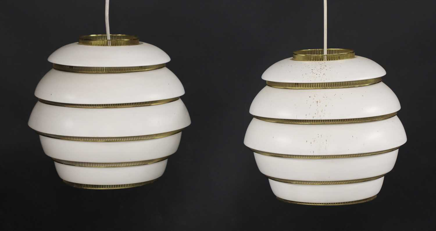 232 - A pair of A331 Beehive pendant lamps,