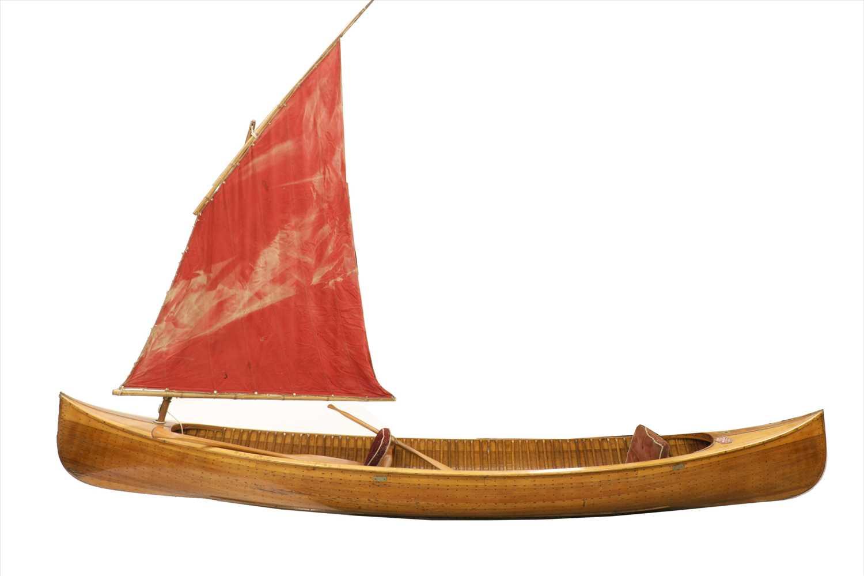 Lot 270 - A cedarwood strip canoe