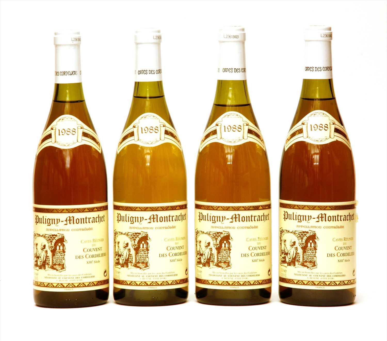 Lot 5-Caves Réunies du Couvent des Cordeliers, Puligny-Montrachet, 1988, four bottles