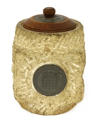 Lot 7-WW2 BOMB-DAMAGED HOUSES OF PARLIAMENT STONE JAR