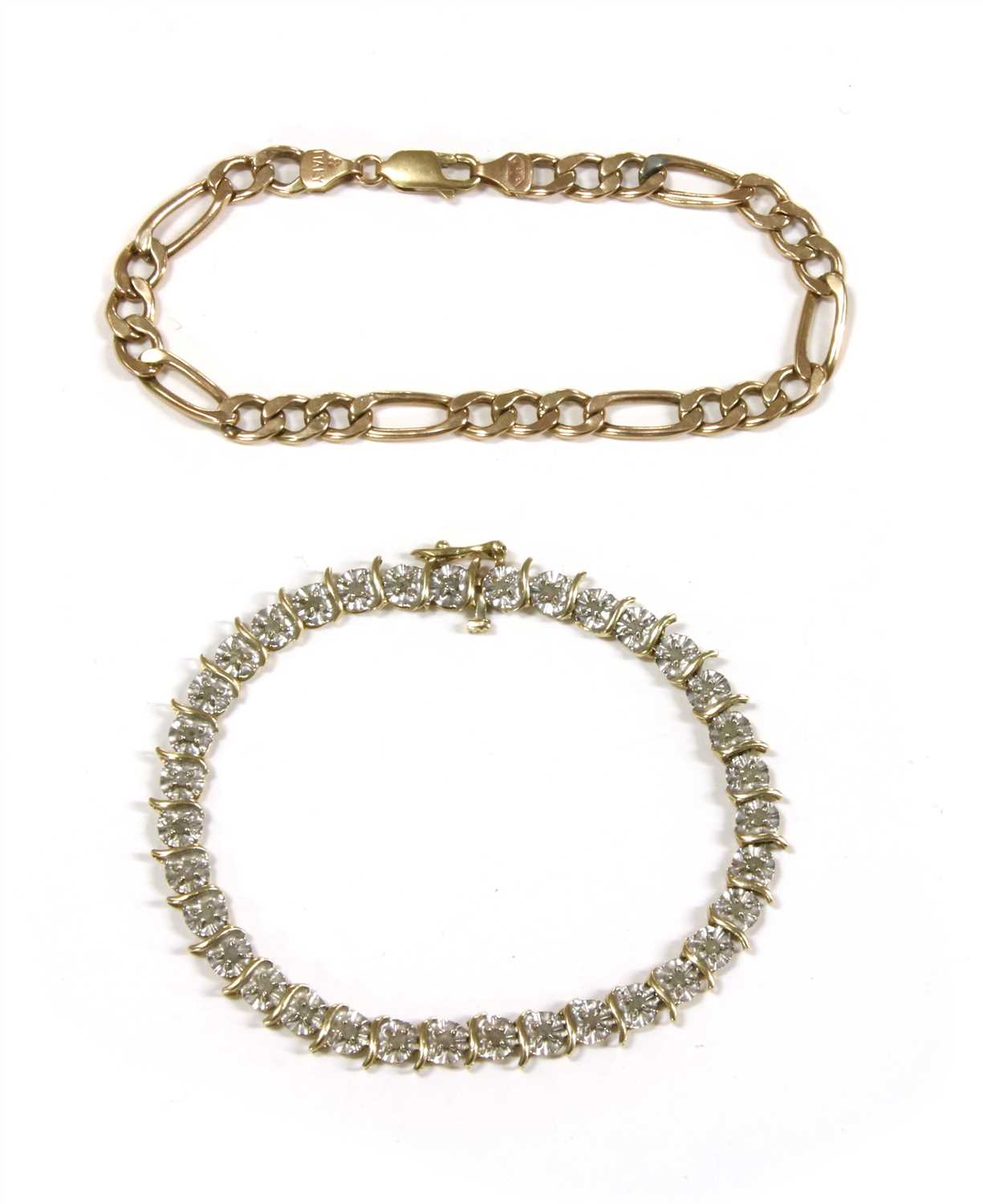 Lot 1006-A gold diamond line bracelet