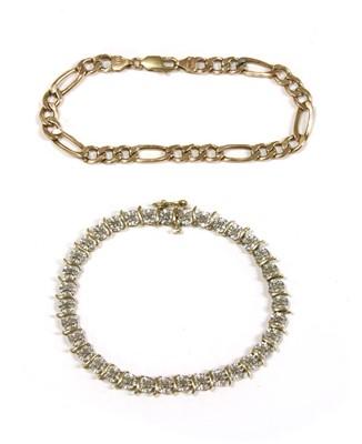 Lot 1006-A gold diamond line bracelet