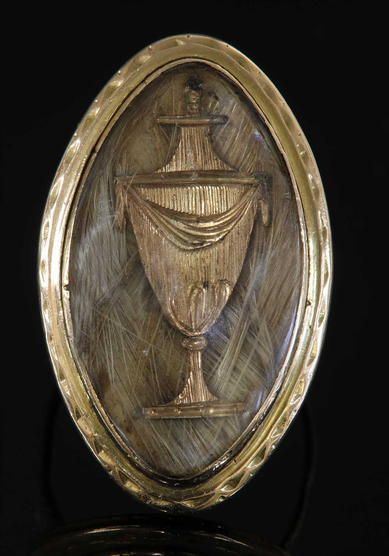 Lot 16-A Georgian gold navette-shaped memorial ring, c.1787