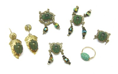 Lot 22-A pair of Victorian gilt metal scarab drop earrings
