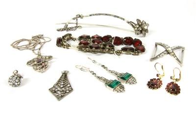 Lot 1013-A pair of Art Deco sterling silver paste drop earrings