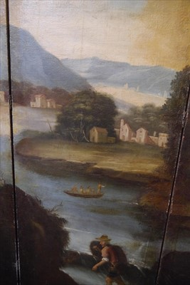 Lot 616-A large painted four-fold screen