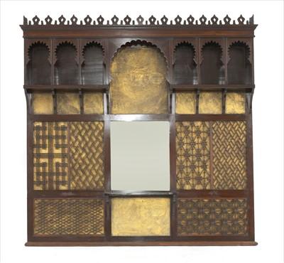 Lot 45-An Aesthetic mahogany overmantel mirror