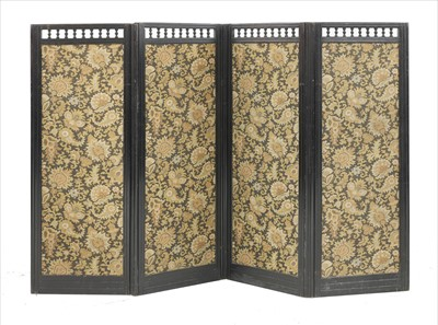 Lot 43-An Aesthetic ebonised four-fold screen