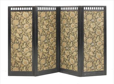 Lot 43 - An Aesthetic ebonised four-fold screen