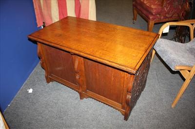 Lot 6-An oak ten-drawer music cabinet