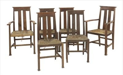 Lot 63 - A set of six Arts & Crafts oak chairs