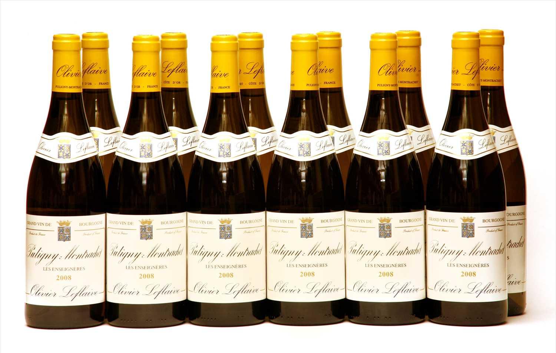 Lot 9-Olivier Leflaive, Puligny-Montrachet, Les Enseignères, 2008, twelve bottles (boxed)