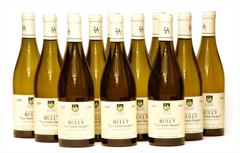 """Lot 12-François d'Allaines, Rully """"Les Saint-Jacques"""", 2009, twelve bottles (boxed)"""