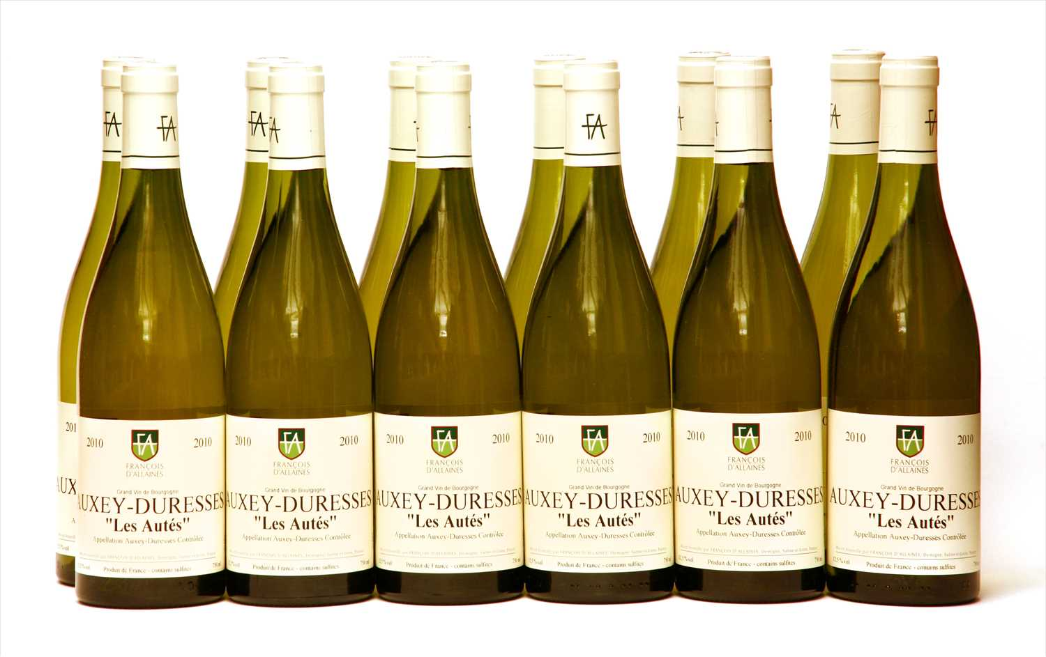 "Lot 13-François d'Allaines, Auxey-Duresses ""Les Autés"", 2010, twelve bottles (boxed)"