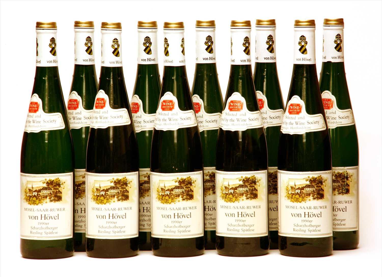 Lot 17-Von Hövel, Scharzhofberger Riesling Spätlese, 1990, ten bottles