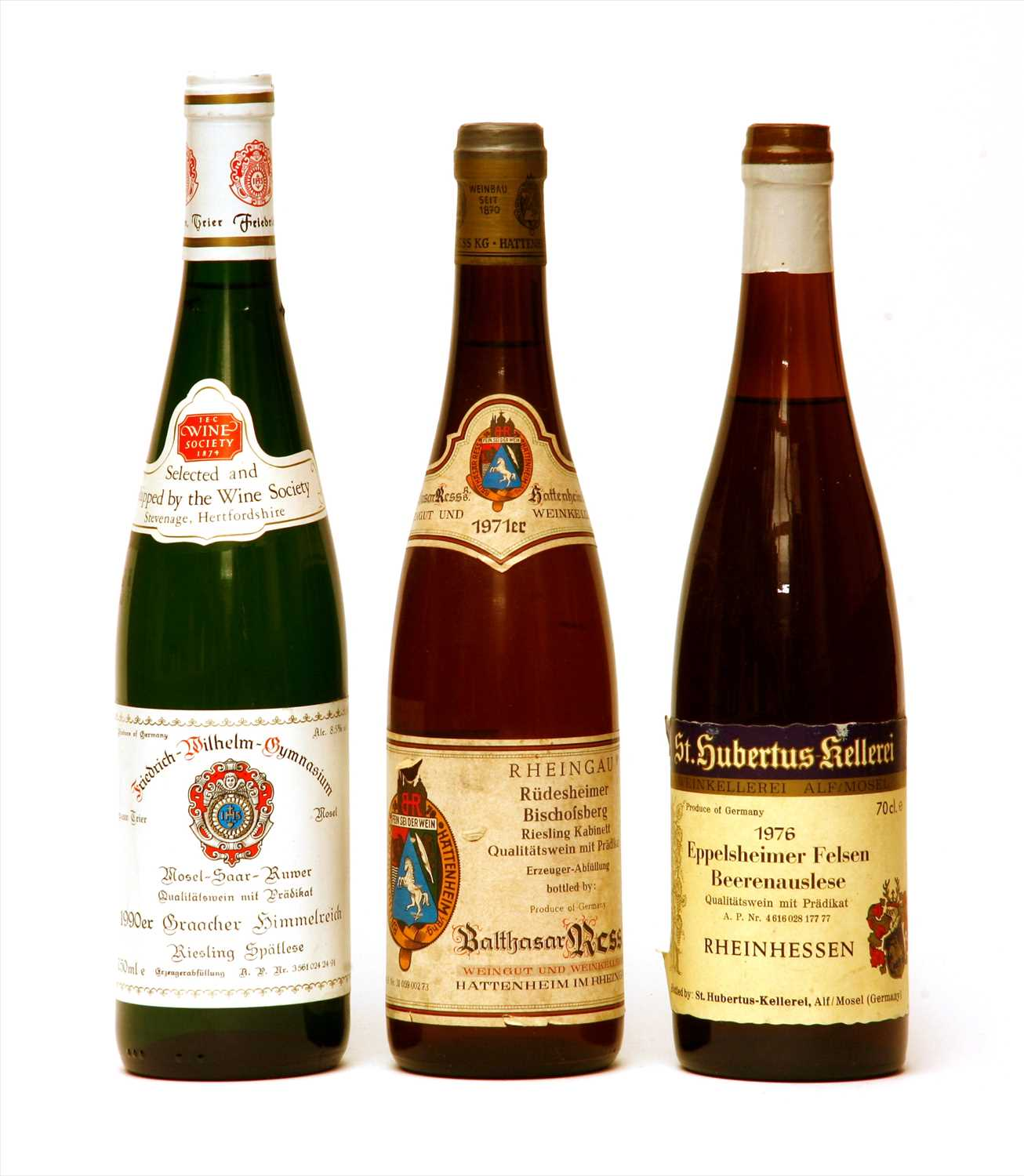 Lot 18-Miscellaneous: Balthasar Ress, 1971; St. Hubertus-Kellerei and another, three bottles in total