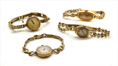 Lot 41A-Four ladies' 9ct gold mechanical watches