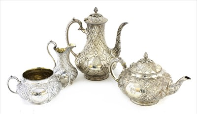 Lot 65 - A silver four-piece tea set