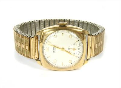 Lot 22-A 9ct gold Vertex Revue mechanical bracelet watch, c.1950