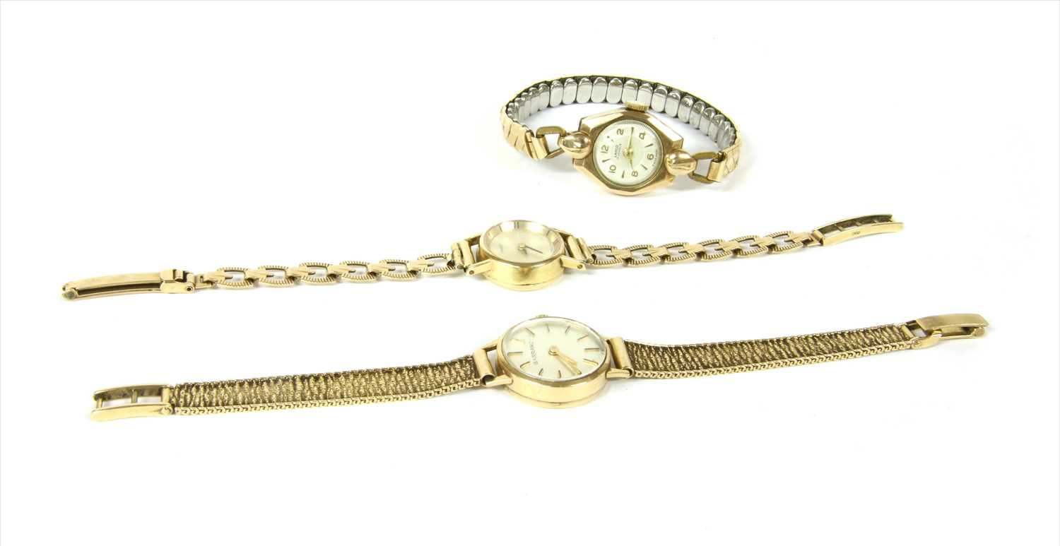 Lot 21-A ladies' 9ct gold Garrard mechanical bracelet watch