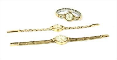 Lot 21-A ladies' 9ct gold Garrard mechanical bracelet watch