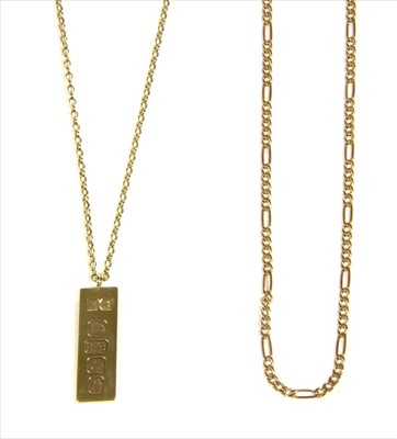 Lot 13-A 9ct gold ingot pendant