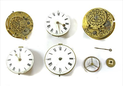Lot 38-Nine various 18th century and 19th century watch movements