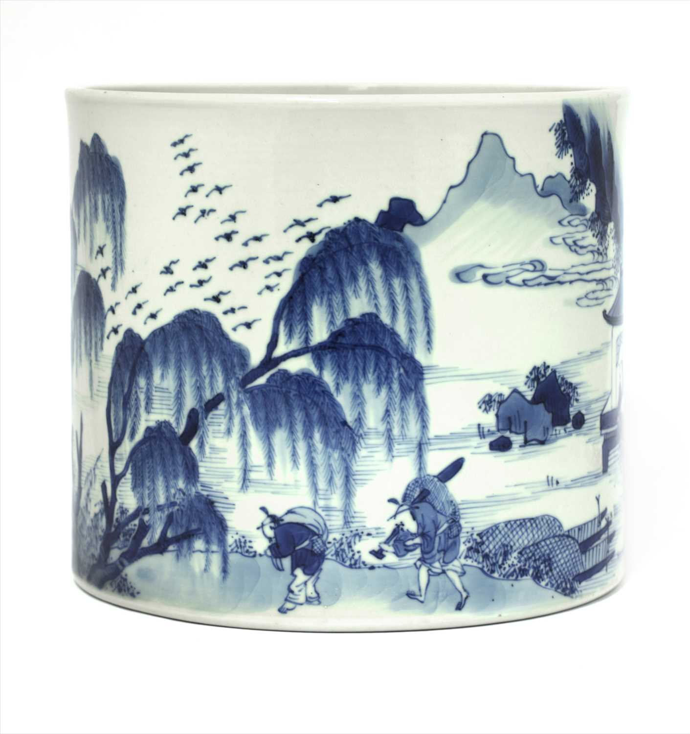 Lot 3-A Chinese blue and white brush pot