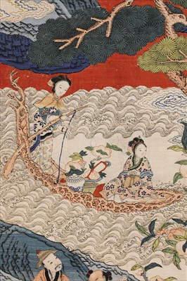 Lot 109 - A magnificent Chinese silk kesi 'Peach Festival' hanging scroll