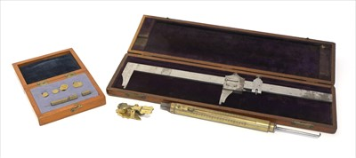 Lot 1018-A mahogany cased vernier caliper