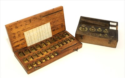 Lot 1020-A stained beech cased set of weights
