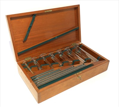 Lot 1024-A mahogany cased standard apothecary's measures and pipettes