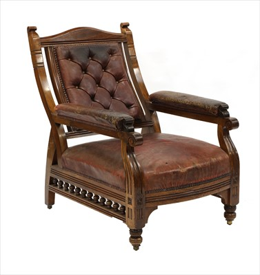 Lot 1-A walnut armchair