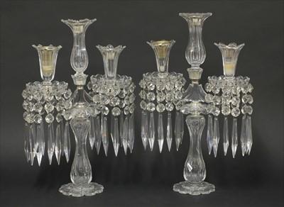 Lot 28-A pair of cut-glass candelabra