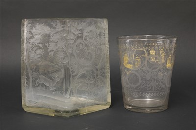 Lot 22-A Bohemian clear glass vase
